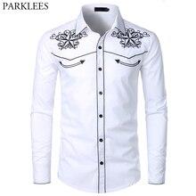 Dupla estrela bordado branco smoking camisa dos homens magro ajuste manga longa camisas vestido masculino festa de casamento banquete social camisa masculina 2xl
