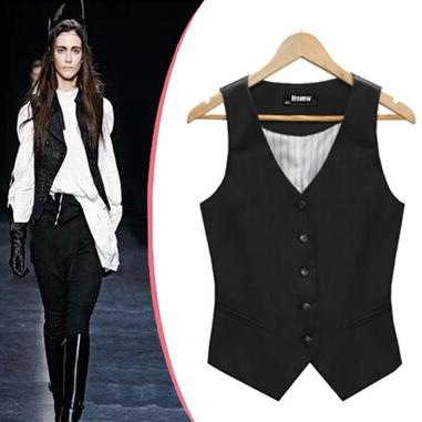 New Arrival Fashion Jacket Women Coat Breasted Button Sleeveless Vest Suit Blazers And Jackets