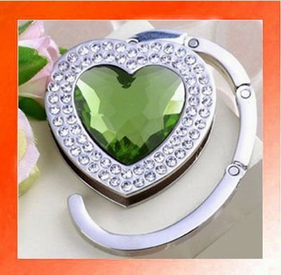 20PCS X Crystal Heart shape Folding Handbag Purse Hook Hanger Holder gift-Green color. Wholesale and Retail. Free shipping.