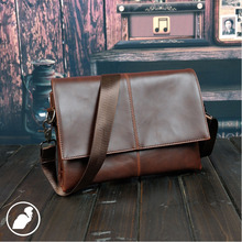 ETONWEAG New 2016 men famous brands Italian leather vintage business style organizer shoulder bags brown casual messenger bags