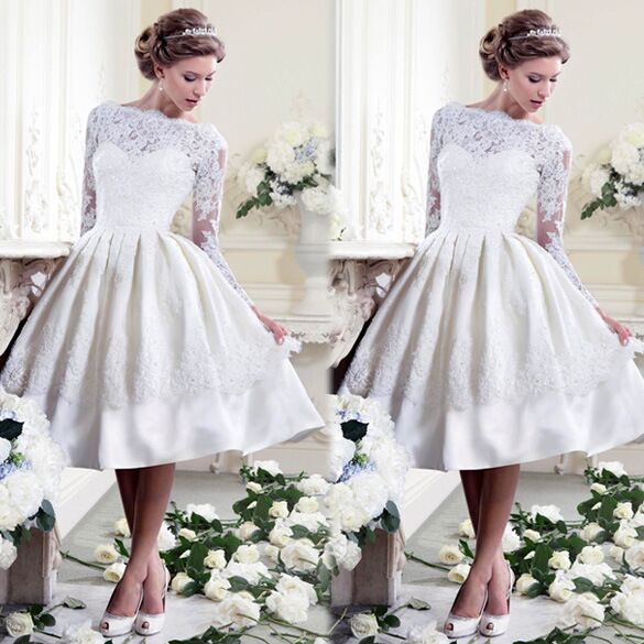 New Design Boat Neck Ball Gown Short Wedding Dresses 2017 Custom Made Tea Length Lace Liqued Backless Vintage Gowns In From