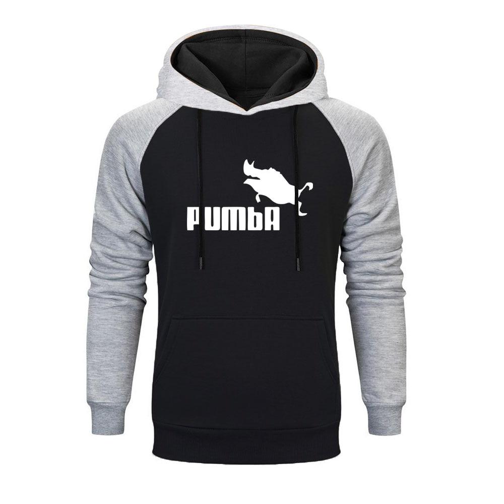 2019 New Funny Cute Raglan Hoodies Homme Pumba Men Mens Hoodies Hip Hop Cool Men's Streetwear Autumn Winter Fashion Sweatshirt