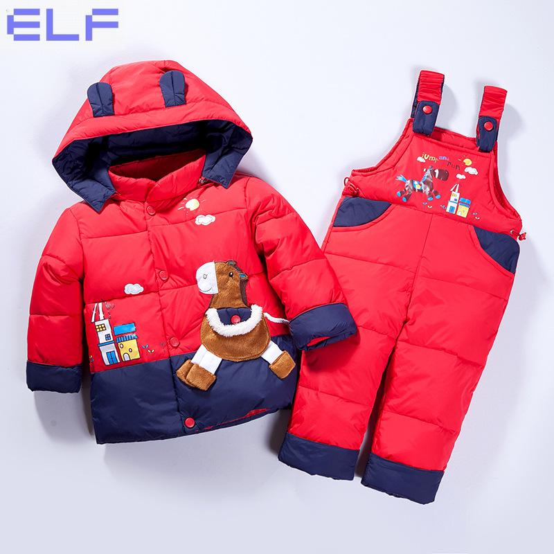 Russian Winter Children's Clothing Set Overalls For Baby Girls Boys Down Coat Warm Snowsuits Jackets+bib Pants Sets 6M-24M