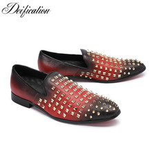 Deification Hot Rivets Studded Leather Men Flats Slip On Moccasins Formal Casual Dress Shoes Office Mens Loafers Espadrilles