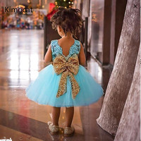 Fancy Lace Princess Girl Party Wear Children Kids Dresses For Girls Wedding Gown Gold Sequins Bow