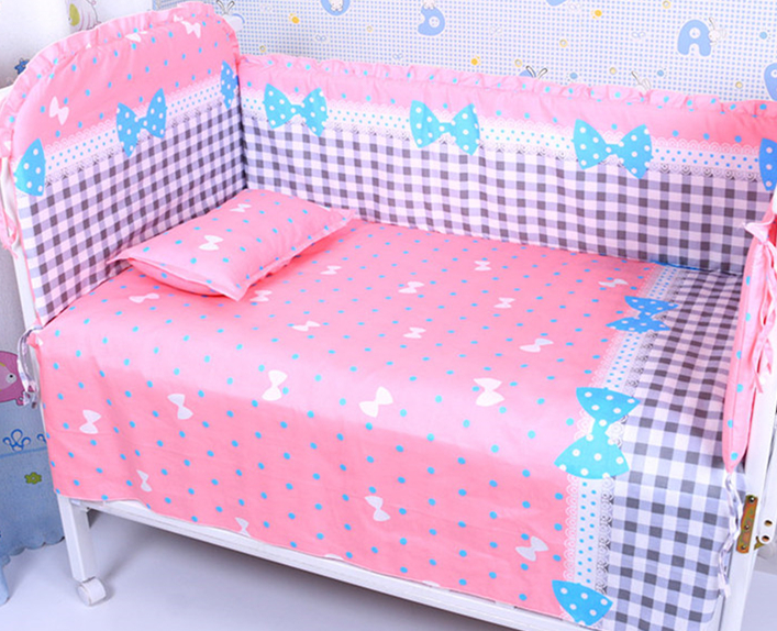 Promotion! 6PCS Bow Baby Crib Bedding Set for Girl Boys Cartoon Cat Newborn Baby Bed Linen Cot (bumpers+sheet+pillow cover) promotion 6pcs cartoon baby crib cot bedding set for boys cot set bed kit blue applique bumpers sheet pillow cover