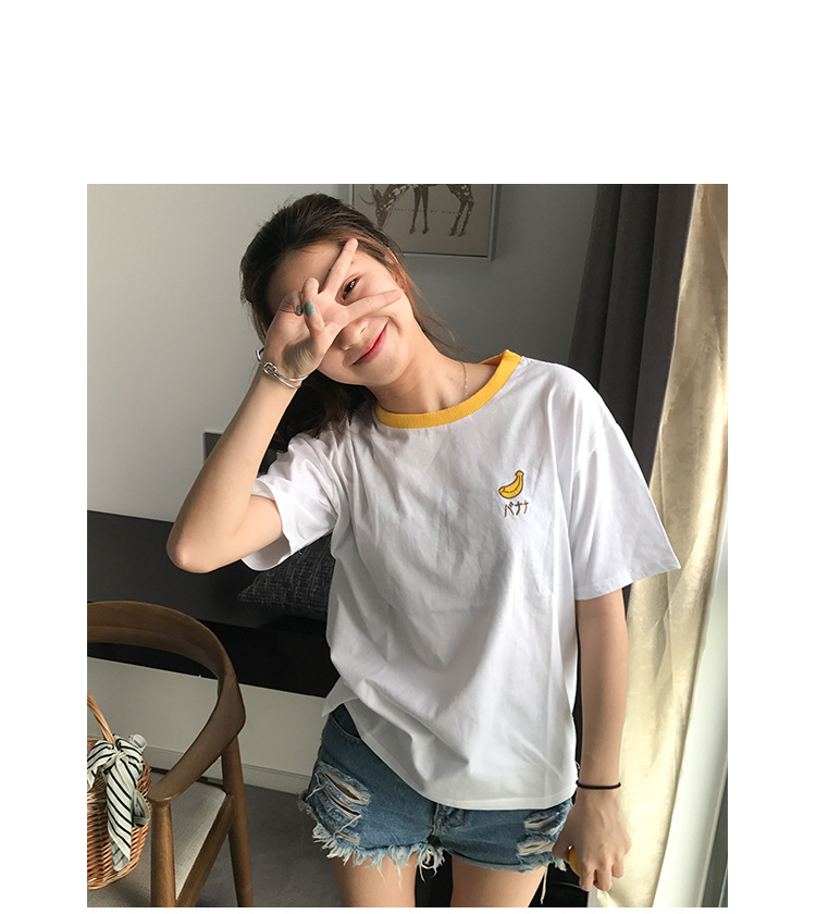 HTB1JAUjRpXXXXc9XXXXq6xXFXXXT - Cotton Fresh Sweet Simple Regular Summer Fruit Embroidered College Wind Patchwork Loose Cotton Short Sleeve Female T-shirts