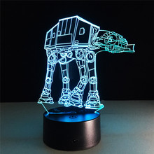 7 colores Star Wars ATAT transporte barco 3D luces nocturnas luces visuales atmósfera luces USB Interruptor táctil LED lámpara de mesa chico regalo(China)