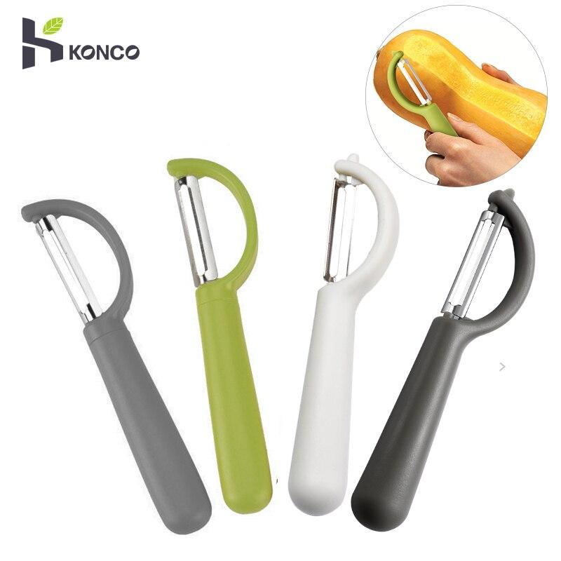 Овощечистка KONCO для фруктов, ультраострый инструмент из нержавеющей стали с эргономичной силиконовой ручкой, кухонные инструменты
