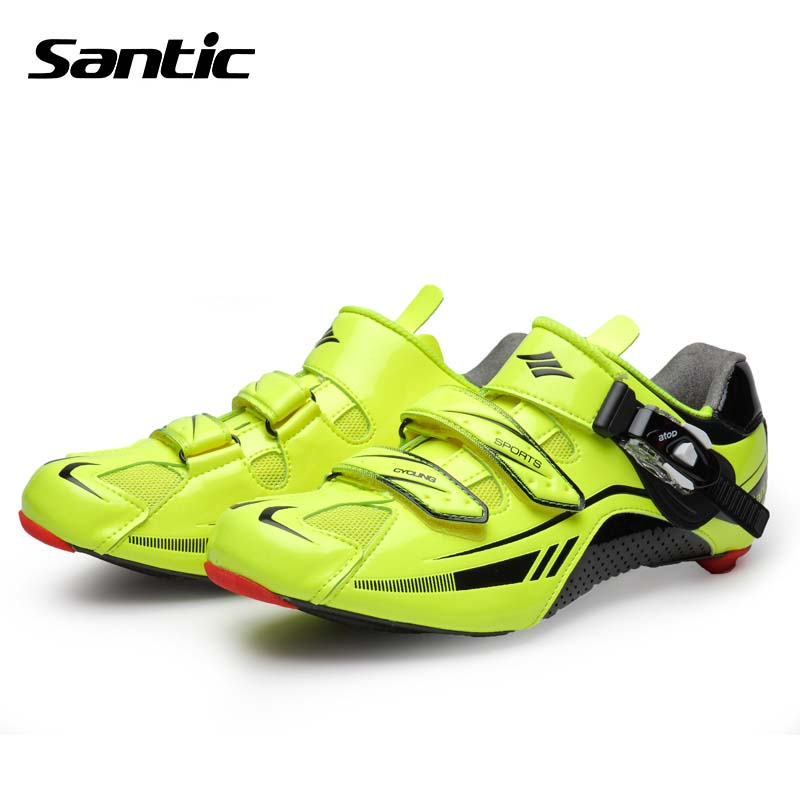 все цены на Santic Cycling Shoes Men Ultralight Carbon Fiber Road Bike Shoes Breathable Athletic Bicycle Locking Shoes Sapatilha Ciclismo
