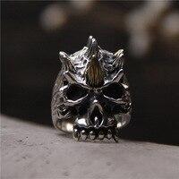S925silver restoring ancient ways ring Thai silver, open personality domineering skull ring men