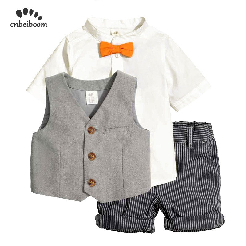 Children 2 6 year boys clothing sets 2019 summer baby shirts +vest + shorts 3pcs set kids boy fashion clothes suits dress