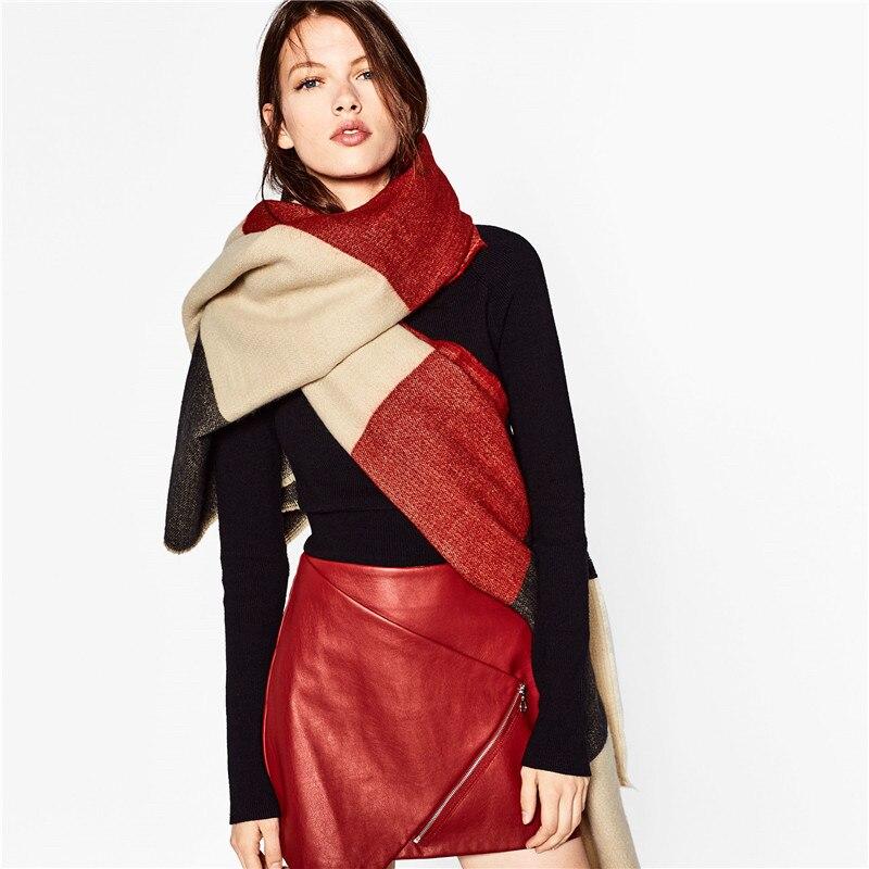 Winter Fashion Patchwork Striped Scarf Cashmere Scarf Infinity Pashmina Luxury Brand Scarf Women Ponchos Wraps Capes