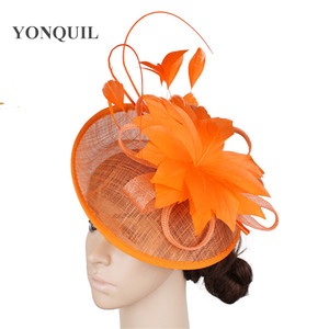 Image 5 - Gorący różowy Millinery Fascinator kapelusz elegancka kobieta z kwiatami i piórami akcesoria do włosów koktajl ślubny kościół chluba noworoczny prezent