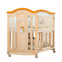 Crib solid wood stitching bed BB baby bed newborn multifunctional folding cradle bed adjustable child bed variable desk