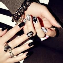 2016 New Fashion American Punk style Black fake nails nail products Manicure tablets 24 pcs black