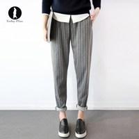 2017 New Fashion Women Harem Pants Stripe Loose With Pockets Simple High Waist Elastic Waist Gray