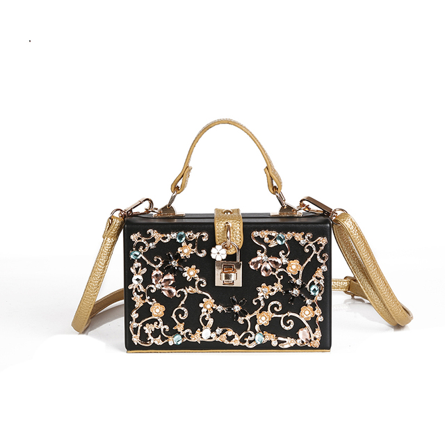 New Multicolor Diamond Lock Decoration Women Handbag Pearl Flower Luxury Evening Party Clutch S Leather Bag