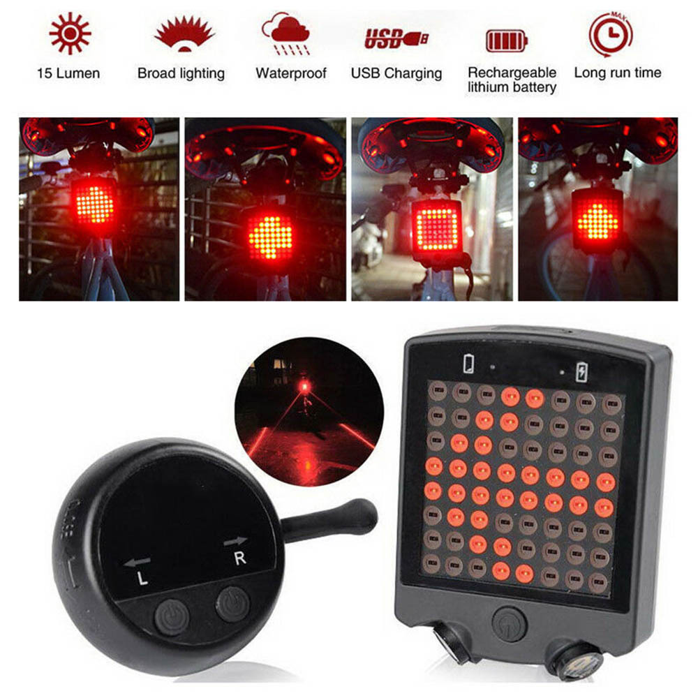 Bicycle Auto Light Indicator Direction Rear Light Charging USB MTB Bicycle Safety Warning Light