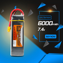 7.4V Lipo 6000mah 25C 2S ZOP Rechargeable Battery T XT60 For RC Drone Helicopters Airplanes Cars Boat DJI Phantom 1 RC Batteria