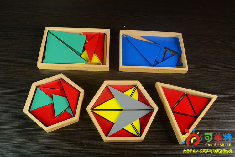 Montessori Materials 5 Constructive Triangles Proffsional Pack Beech Wood  Sensory toys Early educational Can Smarter montessori materials the pythagorean theorem blocks a pack calculate beech wood math tools early educational toys can smarter