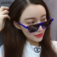 JAXIN okulary Retro Personality half frame Sunglasses Women Fashion Square big Sun Glasses Ms brand design goggles UV400
