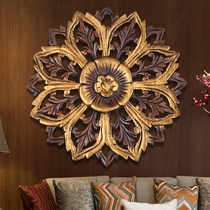 Thai wood carving crafts family living room background wall decorative plate pendant solid carved wall fresco