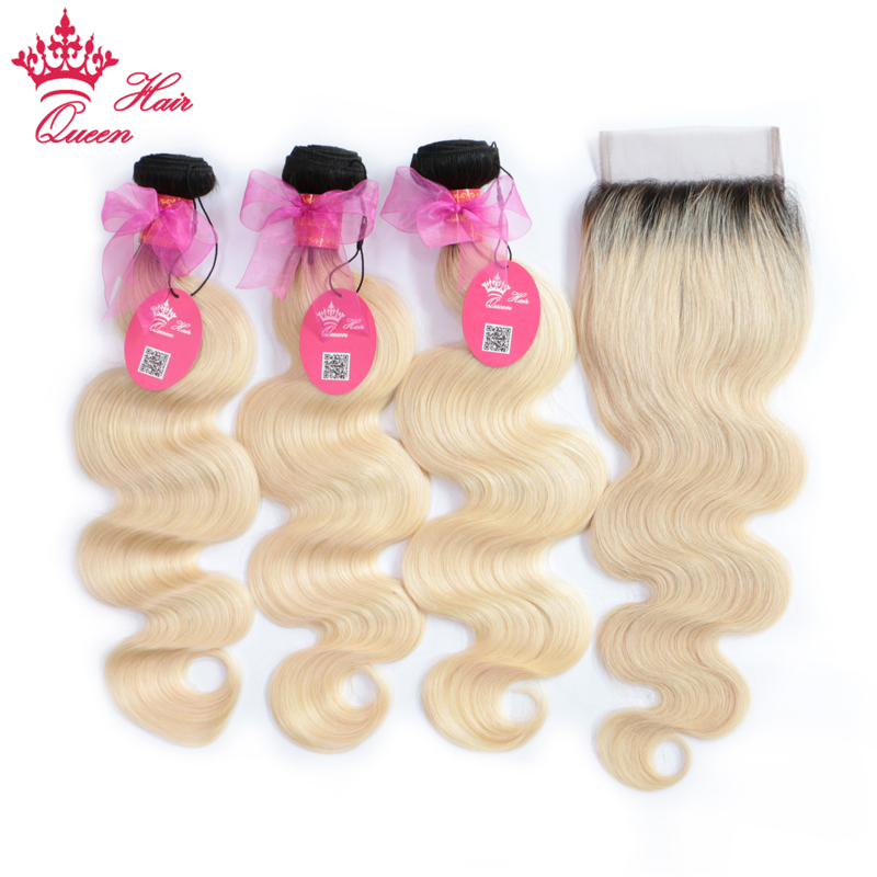 Queen Hair Brazilian Human Hair Ombre Blonde Hair 3Bundles with 4 4 Lace Closure 1B 613