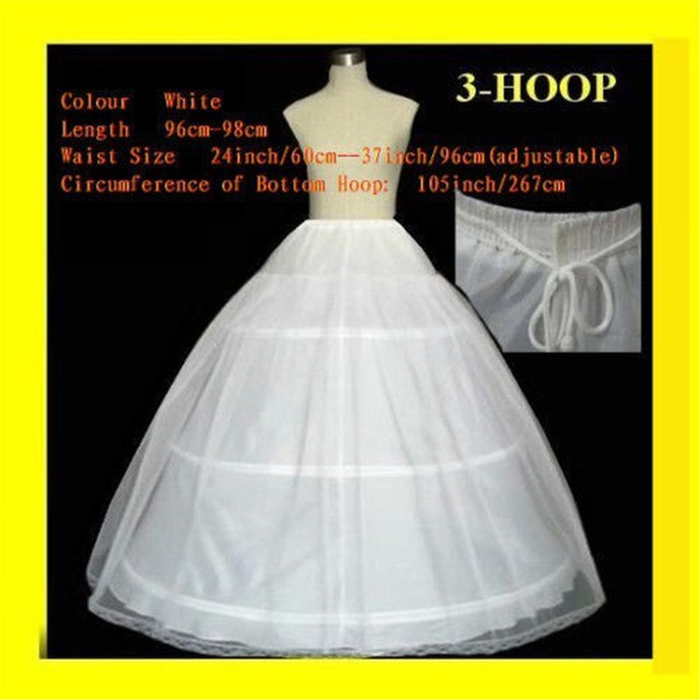 5292e16010b6 FREE SHIPPING Hot sale 50% off 3 HOOP Ball Gown BONE FULL CRINOLINE  PETTICOAT WEDDING SKIRT SLIP H-3