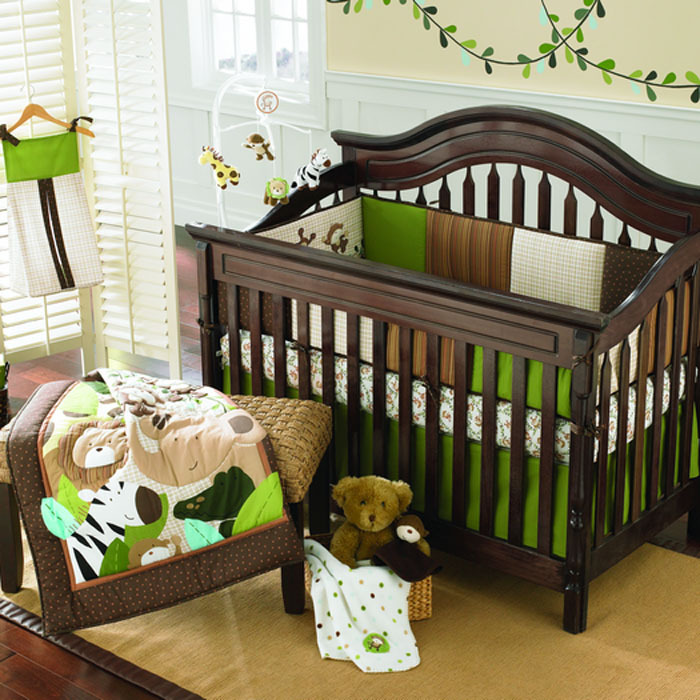 9 pieces embroidered monkeys frolic baby cot crib bedding. Black Bedroom Furniture Sets. Home Design Ideas
