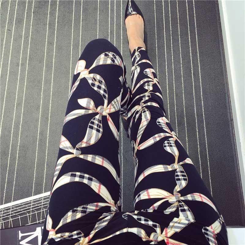 BIVIGAOS Spring Summer Womens Fashion Black Milk Thin Stretch leggings Colored Stars Graffiti Slim Skinny Leggings Pants Female 44