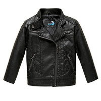 PU Leather Jacket For Boy And Girl Coat Pink Black Autumn Jackets For 2 3 4