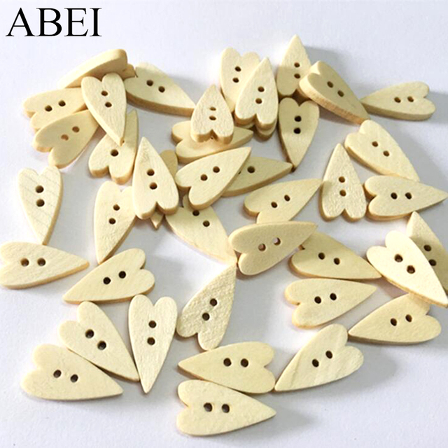 US $2 37 |100pcs/lot 21*11mm Heart Shaped Wooden Buttons for Garments Home  Decoration DIY Wood button Scrapbooking Cards Making Ornaments-in Buttons