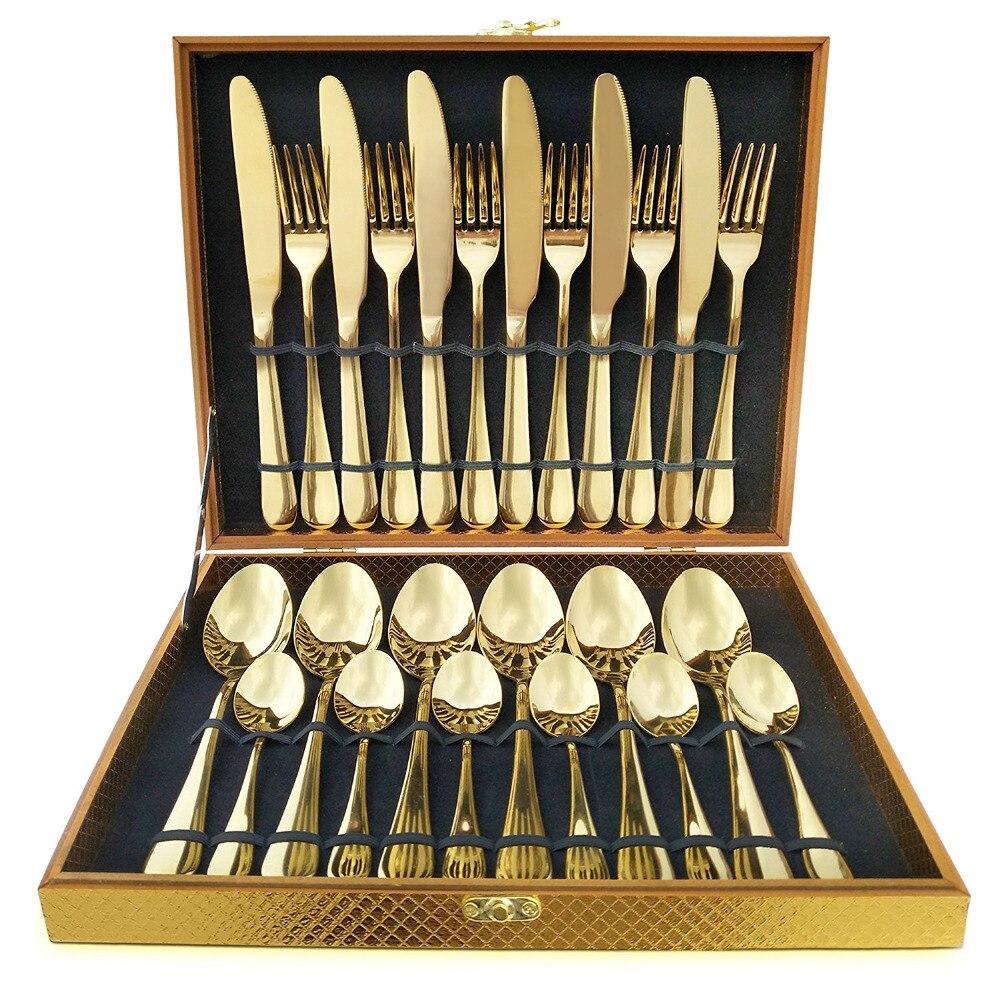 24 unids piezas KuBac Hommi Luxury Golden Steak Knife Fork Set de cubiertos de oro con caja de regalo de madera de lujo Drop Shipping