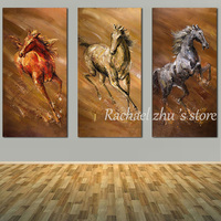 Three Panles Hand Painted Abstract Animal Art Running Horse Oil Painting On Canvas Wall Art Pictures For Living Room Home Decor