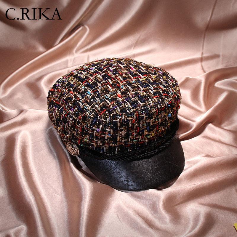 New small sweet wind knitting flat top women Autumn Winter military hats  rope newsboy cap tweed plaid girls fashion beret hats 0c18b6b412c