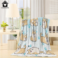 CHARMHOME Mode Decke Niedliche Corgi-hundeschwimm Muster Flanell Fleece Stoff Tier Cartoon Sofa Bett Kinder Erwachsene Warme Decke