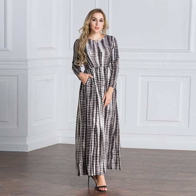 Middle East Women Muslim Dress Empire Vintage Style Islamic Clothing  Printed Plus Size Robe Abaya Long Dress Vestidos S-5XL cc51b8e0f4da