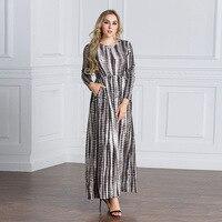 Middle East Women Muslim Dress Empire Vintage Style Islamic Clothing Printed Plus Size Robe Abaya Long