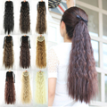 1PC 55cm Ponytails Synthetic Lady Wowen Curly  Ponytail with Clip Pony Tail Hair Extension hairpiece Free Shipping