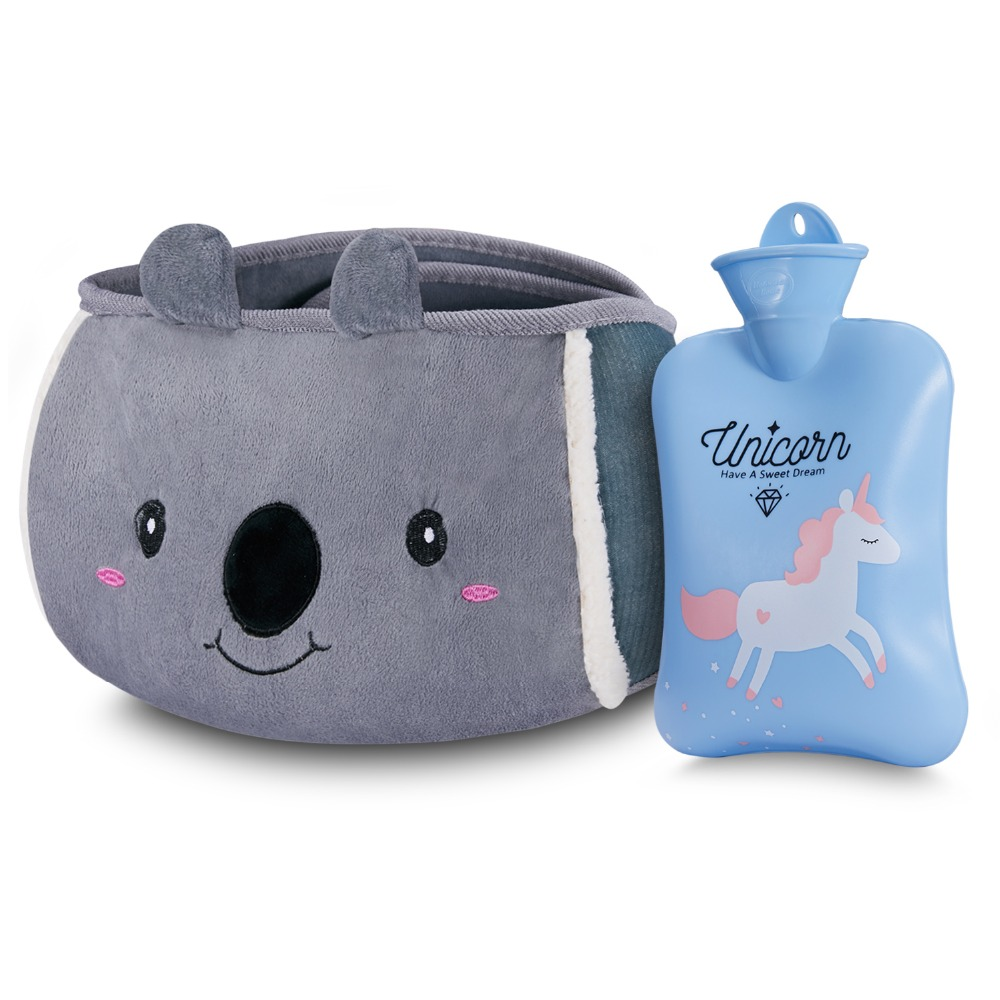 SKL Home Outdoor Warm Waterbag Rubber Hot Water Pouch with Soft Plush Hand Waist Warmer Cover Safety Hot and Cold Therapy