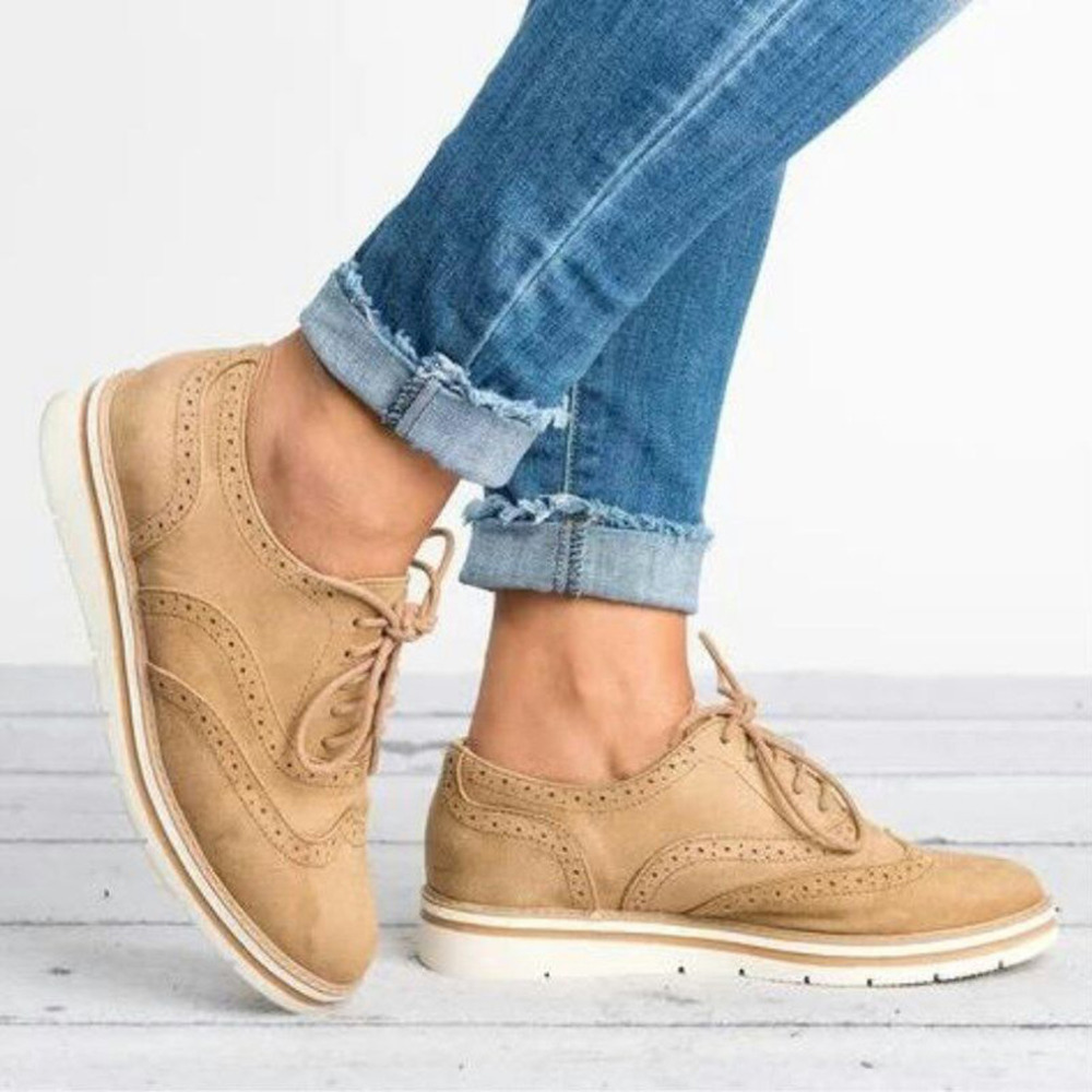 Plus Size 35-43 Women Flat Hollow Platform Shoes Oxfords British Style Ladies Creepers Brogue Shoe For Female Lace Up Footwear 1