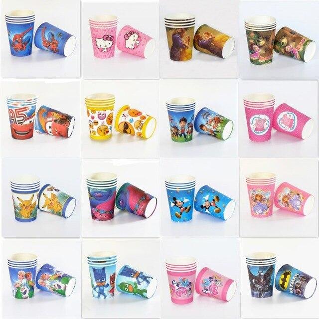 10pcs Lot Paper Cup Mickey Minnie Trolls Pokemon Go Emoji Unicorn Kids Birthday Party Supply Event Supplies Decoration