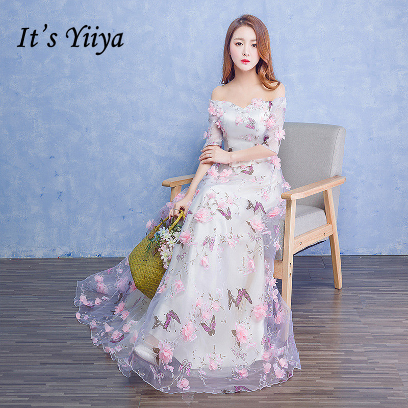 It's YiiYa Half Sleeve Off The Shoulder Backless Lace Up Formal   Evening     Dresses   Floral Print Floor Length Party   Dress   MX068