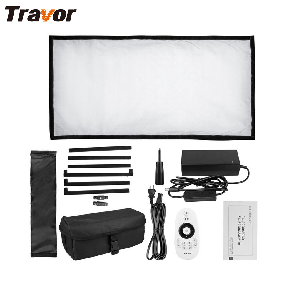 Travor Flexible led video light Bi-Color FL-3060A size 30*60CM CRI 95 3200K 5500K with 2.4G remote control for video shooting travor tl 600a 2 4g kit bi color led video light 3200k 5500k for photography shooting three light 6pcs battery 3 light standing