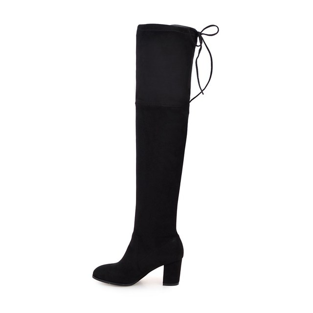 QUTAA 2018 Ladies Autumn/Spring Shoes Square High Heel Women Over The Knee Boots Scrub Black Woman Motorcycle Boots Size 34-43 1
