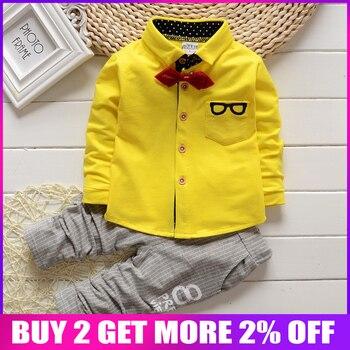 2016 Korean Baby Boy Clothing Sets children Bow tie T-shirts glasses top pants kids cotton cardigan 2pcs boys autumn sets leather