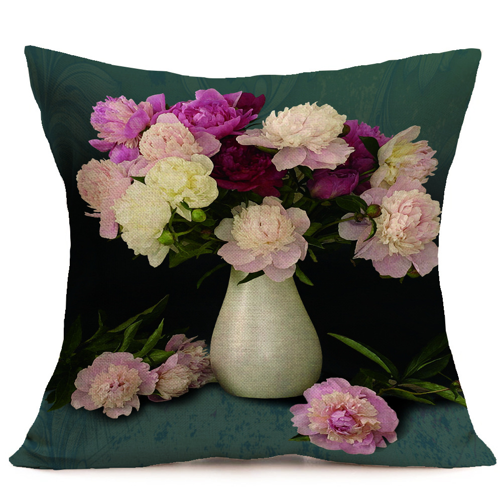 Square 43x43cm Chinese Style Pink Golden Peony Flower Cushion Cover