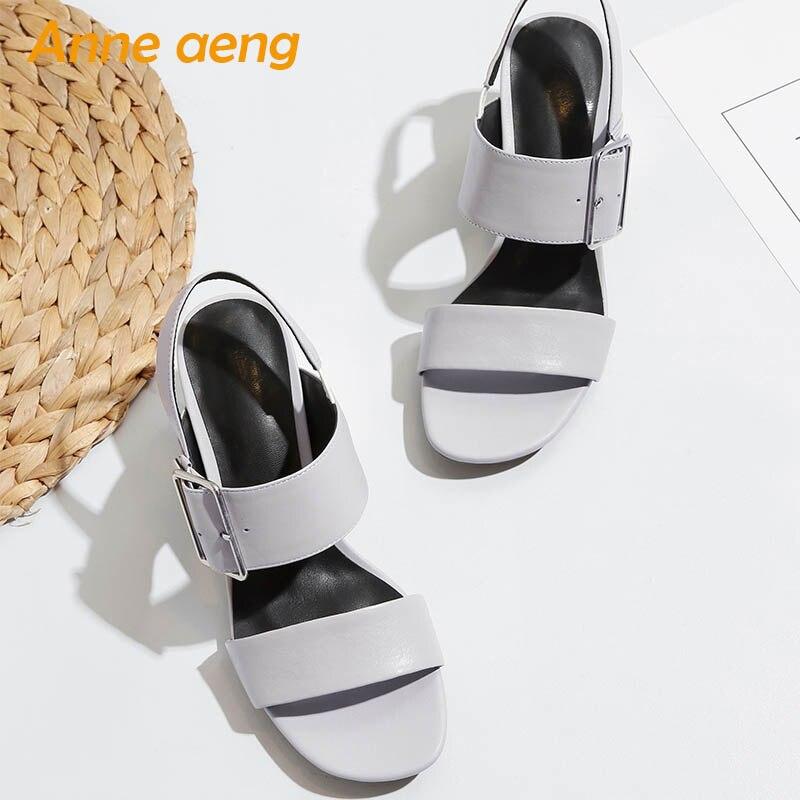 De Chaussures D'été Boucle Gray Vache Cuir Hauts Nouvelle Sexy Black Nwvn0Om8