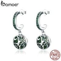 BAMOER Hot Sale 100 925 Sterling Silver Green Crystal Tree Of Life Tree Leaves Drop Earrings